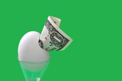 Dollar emerging from egg Stock Images