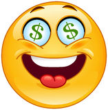 Dollar emoticon. Cheerful emoticon having dollar signs in his eyes vector illustration