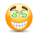 Dollar emoticon. Easy editable  illustration Stock Image