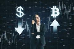 Dollar en bitcoin concept royalty-vrije stock afbeelding