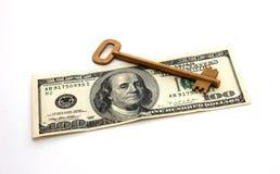 Dollar en de Sleutel Stock Afbeelding