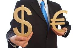 Dollar en euro Royalty-vrije Stock Foto's