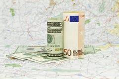 Dollar en Euro Stock Foto
