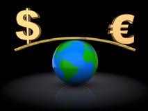 Dollar en euro Royalty-vrije Stock Afbeelding
