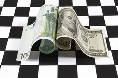 Dollar en euro Stock Fotografie