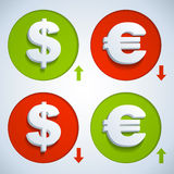 Dollar en euro Stock Afbeelding