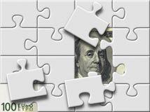 Dollar en euro bankbiljetten onder raadselkaart royalty-vrije illustratie