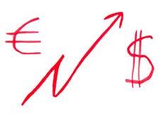 Dollar en euro programma Royalty-vrije Stock Foto