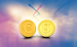 Dollar en euro tariefuitwisseling Stock Foto