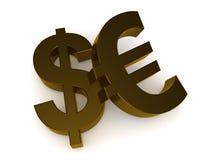 Dollar en Euro tekens Stock Afbeeldingen
