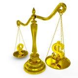 Dollar en euro tekens op schalen. Royalty-vrije Stock Afbeelding