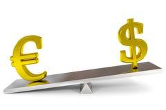 Dollar en euro tekens op schalen. Royalty-vrije Stock Fotografie