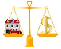 Dollar en gebouw met auto op gewicht vector illustratie
