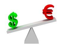 Dollar en het Euro In evenwicht brengen van Symbolen Stock Foto's