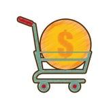 Dollar en ligne de pièce de monnaie de caddie de dessin Photographie stock libre de droits