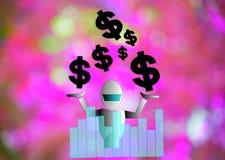 Dollar en robot op houten raadsachtergrond gebruikend behang of voor onderwijs, bedrijfsfoto Neem nota van p Stock Foto