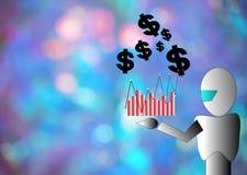 Dollar en robot op houten raadsachtergrond gebruikend behang of voor onderwijs, bedrijfsfoto Neem nota van p Stock Fotografie
