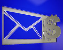 Dollar On Envelope Showing Money Delivery Royalty Free Stock Photography