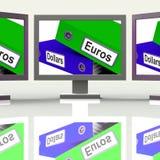 Dollar et change d'Euros Folders Screen Show Global Photographie stock libre de droits