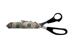 Dollar et ciseaux Photographie stock libre de droits