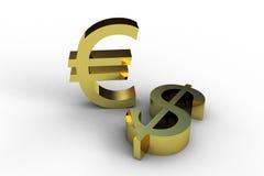 Dollar et euro Photographie stock libre de droits