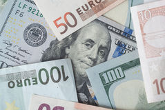 Dollar et euro Images stock