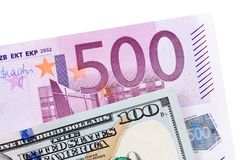 Dollar et euro d'isolement sur le blanc Photo libre de droits