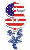Dollar et euro devises croulantes Illustration Libre de Droits