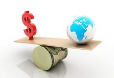 dollar et globe illustration de vecteur