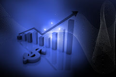 Dollar et graphique bleus Photographie stock libre de droits