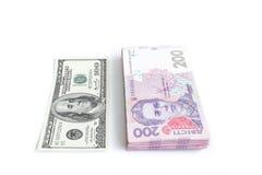 Dollar et les grivnas ukrainiens Photos libres de droits