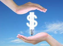 Dollar et main Images libres de droits