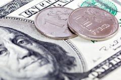 Dollar et rouble Image stock