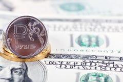 Dollar et rouble Images libres de droits