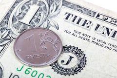 Dollar et rouble Photos libres de droits