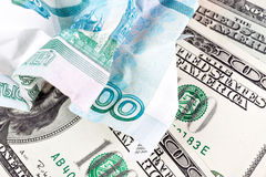 Dollar et rouble Images stock