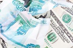 Dollar et rouble Photo libre de droits