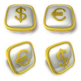 Dollar and EUR 3d metalic square Symbol button . 3D Icon Design Royalty Free Stock Photos