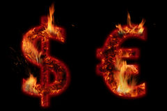 Dollar and euro. Burning dollar and euro on black background Stock Photo