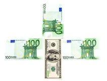 dollar euro Arkivbild