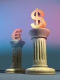 Dollar and euro. Symbols on two columns. Digital illustration Royalty Free Stock Photography