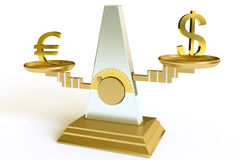 Dollar and euro. On scales Royalty Free Stock Photography