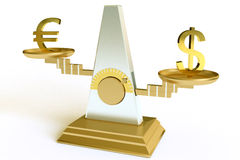 Dollar and euro. On scales Royalty Free Stock Photo