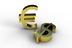 Dollar and euro. Golden 3d symbols isolated on white Royalty Free Stock Photography