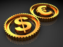 Dollar and euro Stock Images