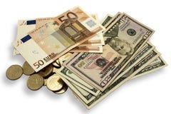 Dollar Euro stockfotos