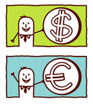 Dollar & euro. Vector hand drawn cartoon characters Royalty Free Stock Images