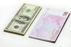 Dollar. Euro. Lizenzfreies Stockbild