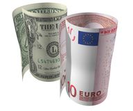Dollar and Euro 2. Bended Dollar and Euro in white stock images