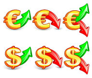Dollar_&_euro. Golden icons of exchange rate Stock Photography